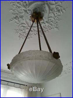Grand Lustre Art Nouveau Sue et Mare/Genet Michon verre pressé moulé et Bronze