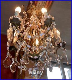 Grand Lustre à pampilles biscolore de Murano, bronze doré 5 lumieres. Ancien