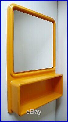 Grand Miroir Avec Etagere En Plastique Design 1970 Vintage Années 70
