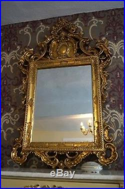 Grand Miroir Doré À La Feuille D'or Style Baroque Ancien Cheminée Pour Palais