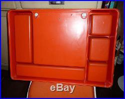 Grand Miroir Mural Orange Vintage Des Années 70's Space Age Panton étagère