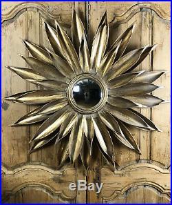 Grand Miroir Soleil En Tôle Couleur Or Avec Miroir Sorciere Style Annee 70