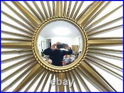 Grand miroir oeuil de sorcière soleil bombé Chaty Vallauris 85 cm sunburst 50 60