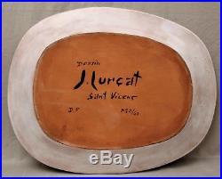 Grand plat en faïence signé Jean Lurçat- Sant Vicens design 1950