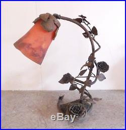 Grande LAMPE fer forgé art nouveau MULLER FRERES