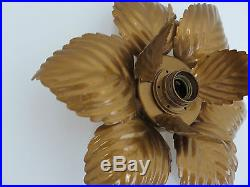 Grande Lampe Applique Fleur En Metal Dore Annees 70 Vintage