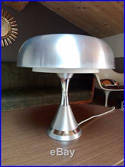 Grande Lampe Champignon Vintage Argentée Métal Chromé Circa Space Age Années 70