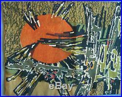 Grande TAPISSERIE Ancienne RENÉ FUMERON Samouraï 1960 Atelier Robert Four