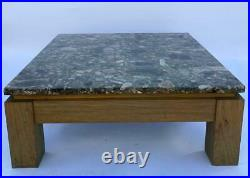 Grande Table Basse 1960 Bois Ceruse Plateau Marbre Grande Taille Vintage L722