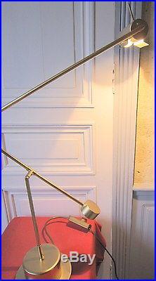 Grande lampe à balancier métal doré design 70 seventies