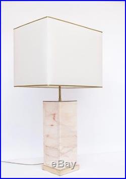 Grande paire de lampes en marbre rose et laiton doré 1970