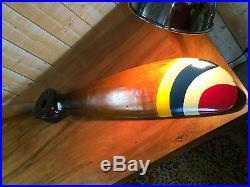 Hélice d'avion en bois pales à 4 bandes colorées 120 cm (déco agence de voyage)