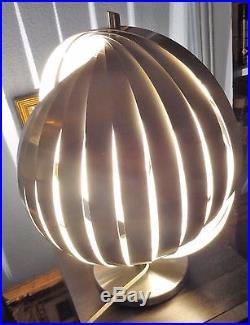 Henri Mathieu design seventies lampe Moon hélicoïdale aluminium brossé