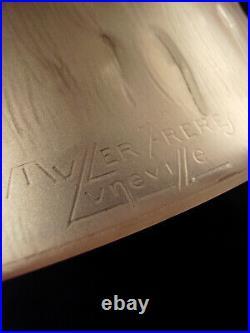 Hettier & Vincent Lustre Art Déco En Bronze Nickelé Et Verre Pressé Muller 1930