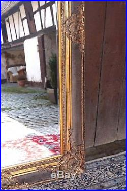 Imposant Grand Miroir 212x126cm En Bois Doré Glace Pour Palais D'un Chteau