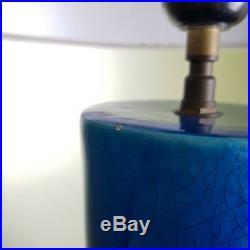 Imposant pied Lampe céramique émail bleu celadon craquelé dlg Chambost Besnard