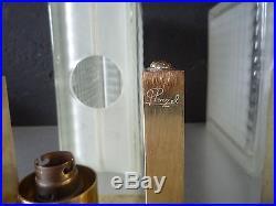 JEAN PERZEL Paire d'appliques art deco bronze doré et pavés de verre signées