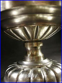 J. Gauthier Suspension Art Déco En Bronze Nickelé Obus En Verre Pressé 1930