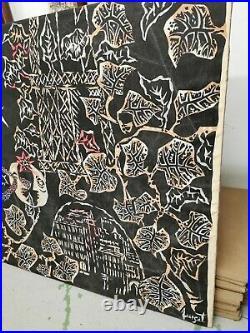 Jean LURCAT Grande TAPISSERIE Impression sur TISSU Tenture Signe XXe Decoration