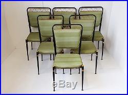 Jean Royere Suite De 6 Chaises 1950 Acier Vintage 50s Rockabilly Annees 50