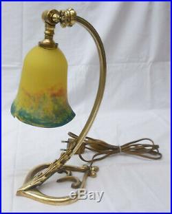 Jolie LAMPE de TABLE bronze ART NOUVEAU tulipe signée