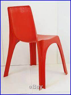 Kartell Castiglioni Gaviraghi Lanza Suite De 4 Chaises Plastique 1970 Space Age