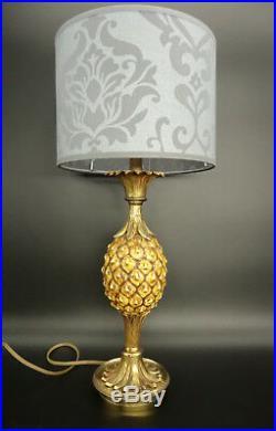 LAMPE ANANAS STYLE JANSEN BRONZE & FAÏENCE 44 cm