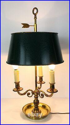 LAMPE BOUILLOTTE DU 19e À 3 BRAS DE LUMIÈRE EN BRONZE DORÉ ET ABAT JOUR EN TÔLE
