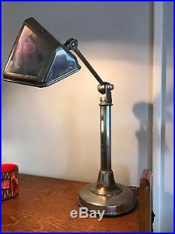 LAMPE PIROUETT GRAND MODÈLE DE COLLECTION A VERRES NUAGÉS BUREAU Art Deco 1930