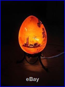 Lampe Veilleuse Art Deco En Pate De Verre Peint Emaille Fer Forge Jany Peynaud