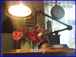 LAMPE d'ATELIER INDUSTRIEL JIELDE 2 bras ANCIENNE JEAN LOUIS DOMECQ LYON 1950'S