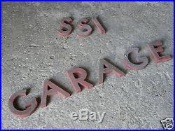 LOT lettre zinc enseigne ancien GARAGE vintage/café racer/industriel/industrial