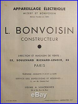 L. Bonvoisin Grande Applique Art Déco Moderniste Bronze Nickelé Et Verre Pressé