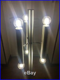 Lampadaire Design 70 A 6 Lampes, Aluminium & Chrome, Tubulaire, Vintage