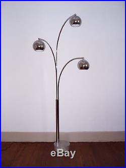 Lampadaire de Goffredo Reggiani vintage en métal chromé 3 globes des années 70