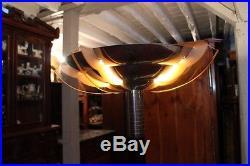 Lampadaire palissandre et métal design 1930 Art déco ailettes verre teinté rose