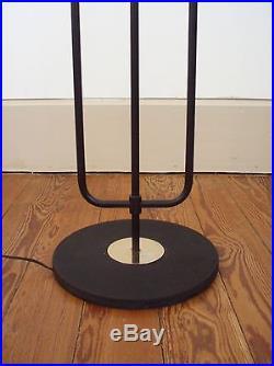 Lampadaire vintage Arlus métal noir doré chromé année 50
