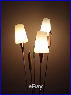 Lampadaire vintage roseau Arlus métal verre et laiton année 50