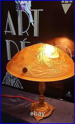 Lampe Art Nouveau Art Deco Bronze ou Laiton Verre Moulé