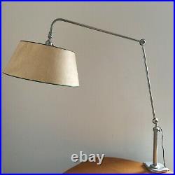 Lampe Articulee Bureau 1960 A Rotule Metal Blanc Vintage G216