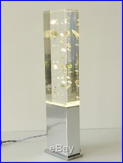 Lampe Bloc Plexiglas A Inclusion Psychedelique Veritable Sculpture 1970 Vintage