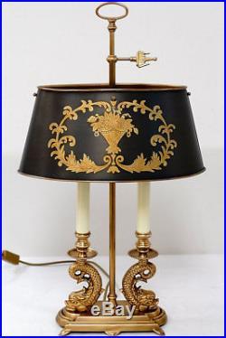 Lampe Bouillotte Style Louis XVI Empire Napoleon En Laiton Dore