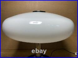 Lampe Champignon Années 60', Space Age, Chrome Et Plexi Blanc, Design Italien