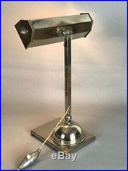 Lampe De Bureau Articulée Epoque Art Deco En Metal Chromé