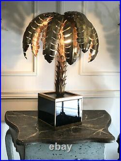 Lampe Palmier De Table En Metal Doré / Socle En Plaques De Verre Style Année 70