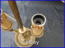 Lampe bouillotte bronze col cygne abat-jour tole peinte style empire XXème