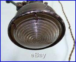 Lampe d'atelier LUMINA DOUBLE lentille BOZAL vintage industriel lamp singer gras