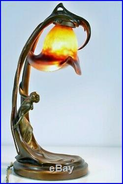 Lampe de Bureau Nouille Art nouveau Bronze Pate de Verre HELENE SIBEUD Daum rare