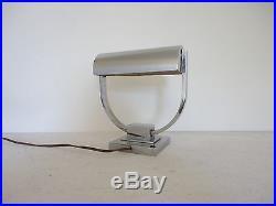 Lampe de bureau articulée en laiton nickelé moderniste 1930 Art Deco Desny Adnet