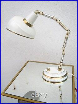 Lampe laiton laqué Bauhaus lampe cocotte articulée vers 1950